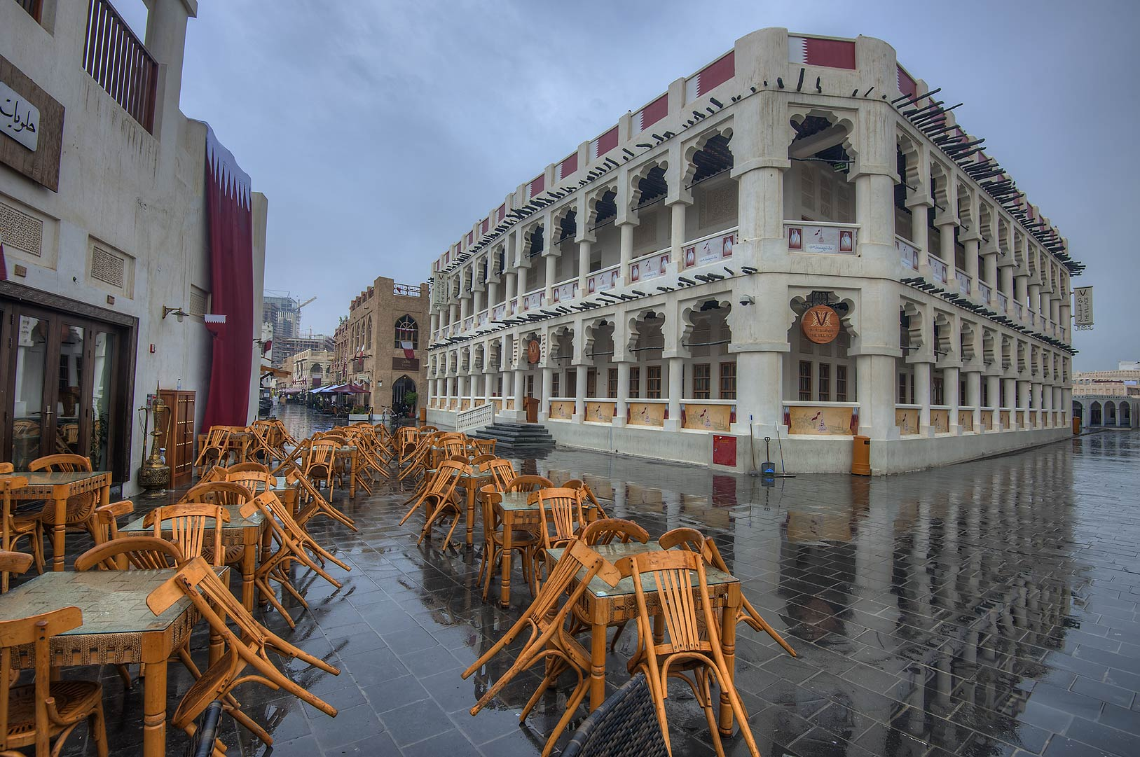 Area of the Village Restaurant in Souq Waqif market at rain. Doha, Qatar