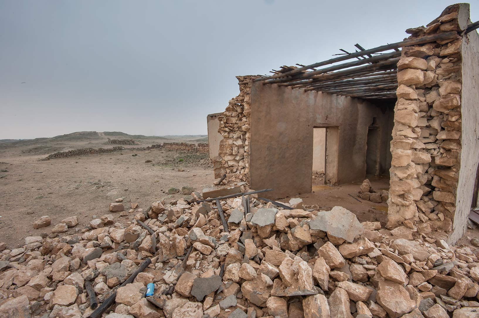 Remains of a house near Jabal Al Jassasiya, on north-eastern coast. Qatar