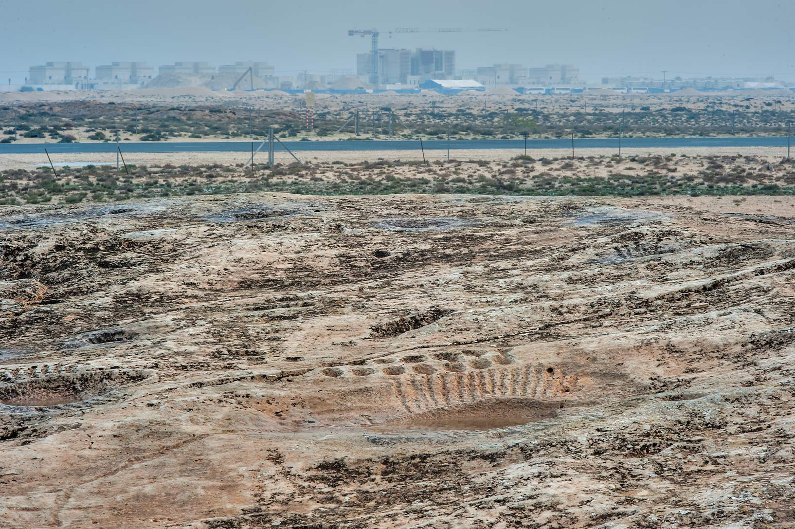 View to the east from a rocky ridge in Jabal Al...site, on north-eastern coast. Qatar