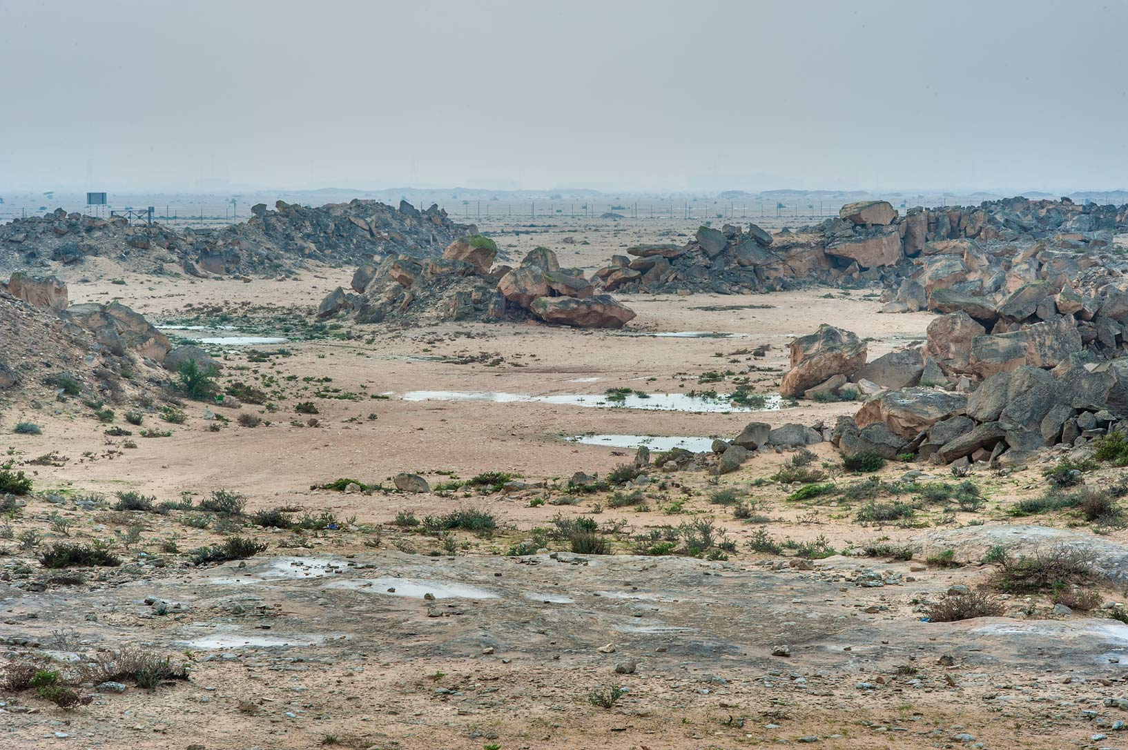 Stone quarry from a rocky ridge in Jabal Al Jassasiya site, on north-eastern coast. Qatar