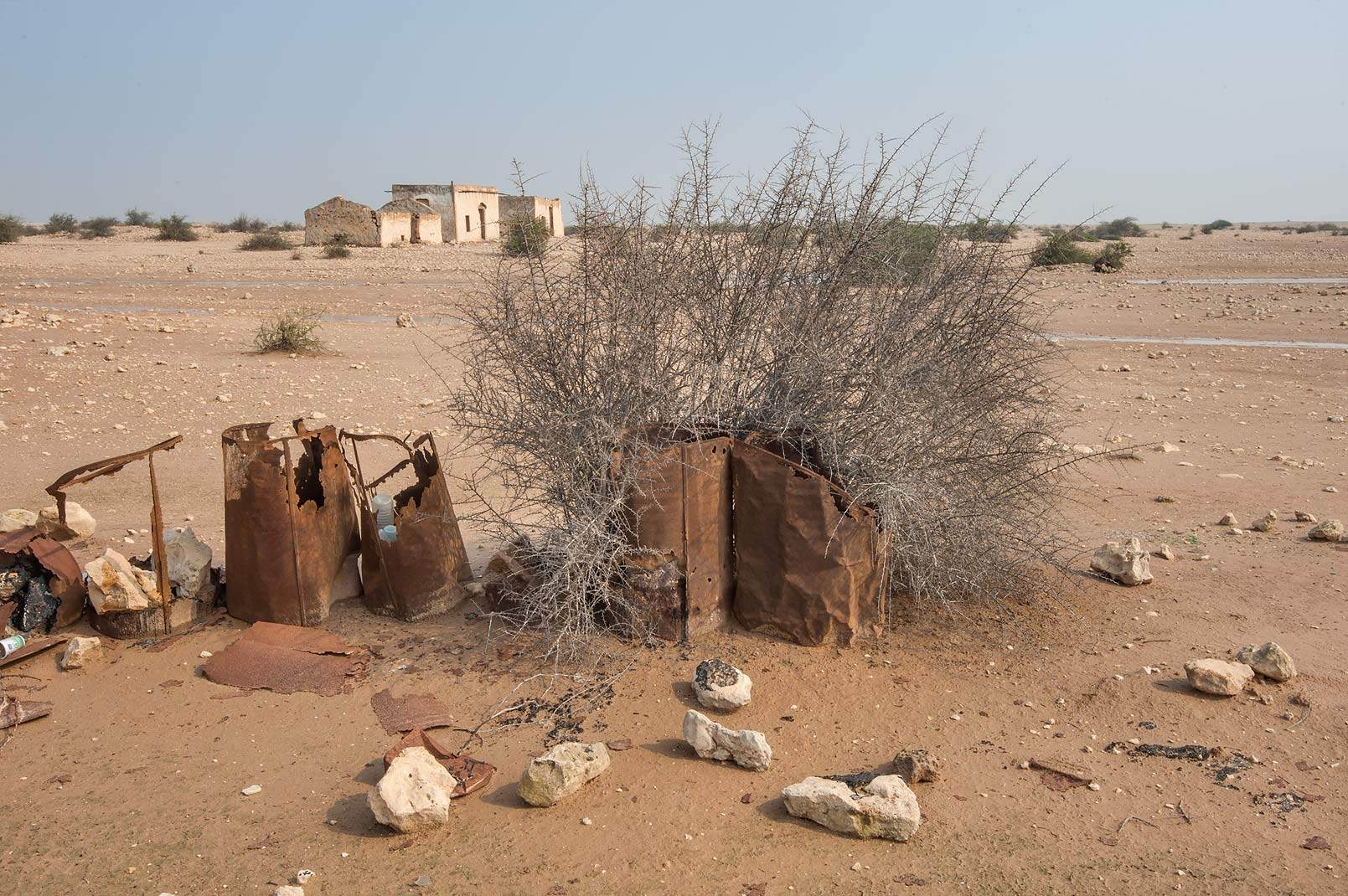 Old oil drum fence of a farm in Ain Mohamed Fort...Rd. north from Zubara. Northern Qatar