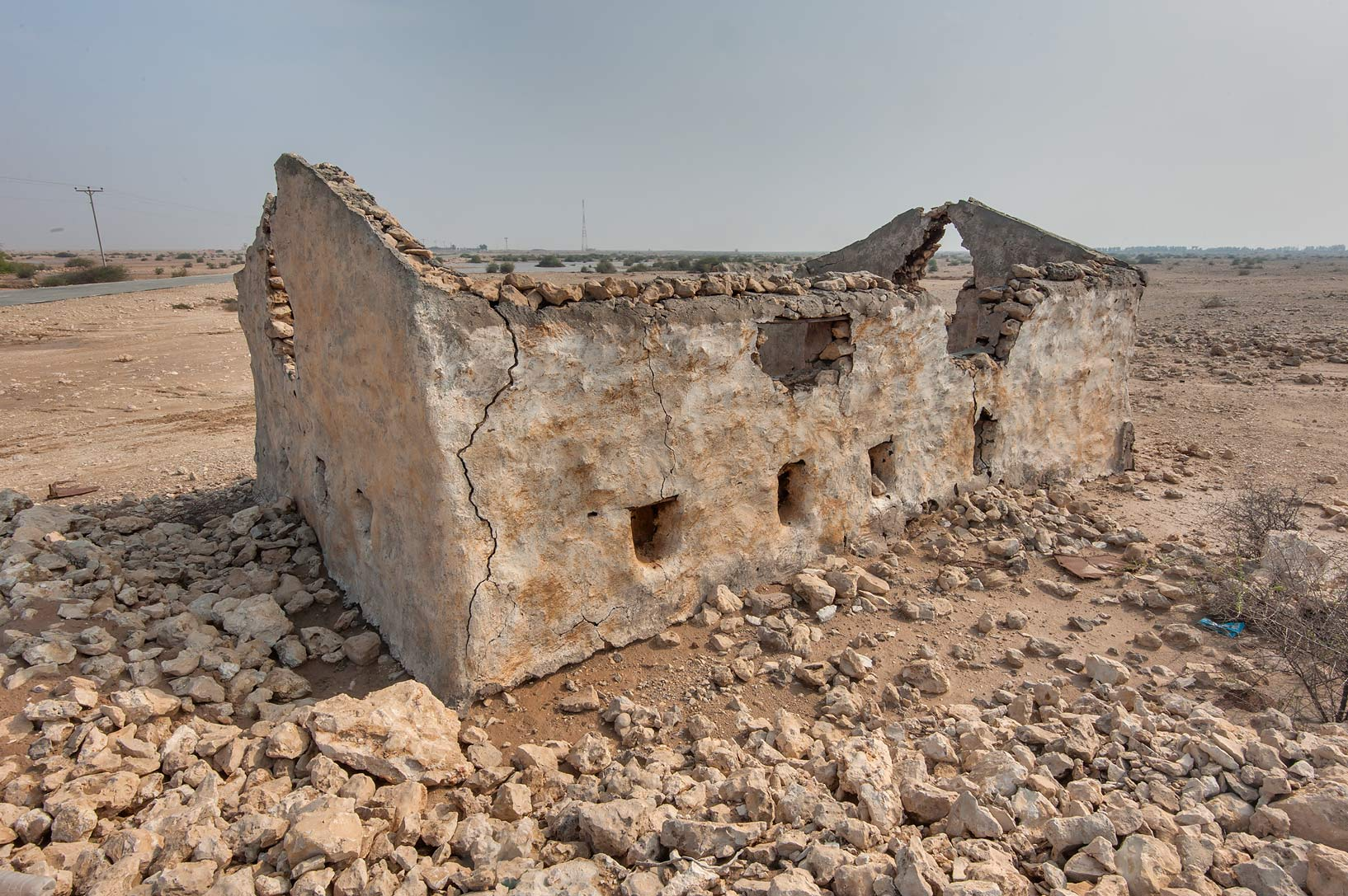 Stone house with narrow windows in Ain Mohamed...Rd. north from Zubara. Northern Qatar