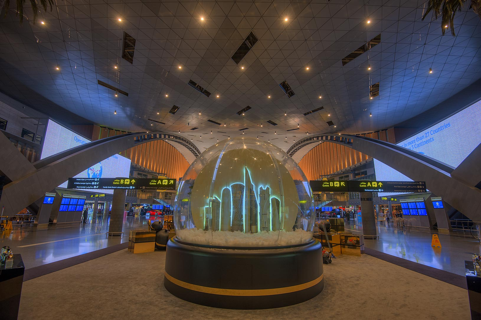 Christmas decoration in Hamad International Airport. Doha, Qatar