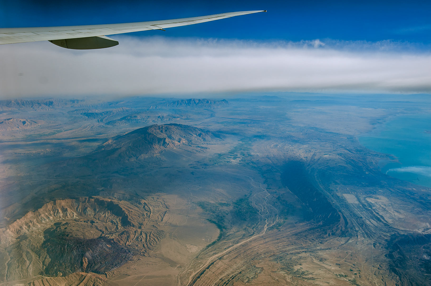 Zagros Mountains in southern Iran, near Hormozgan...plane from Dubai shortly after takeoff