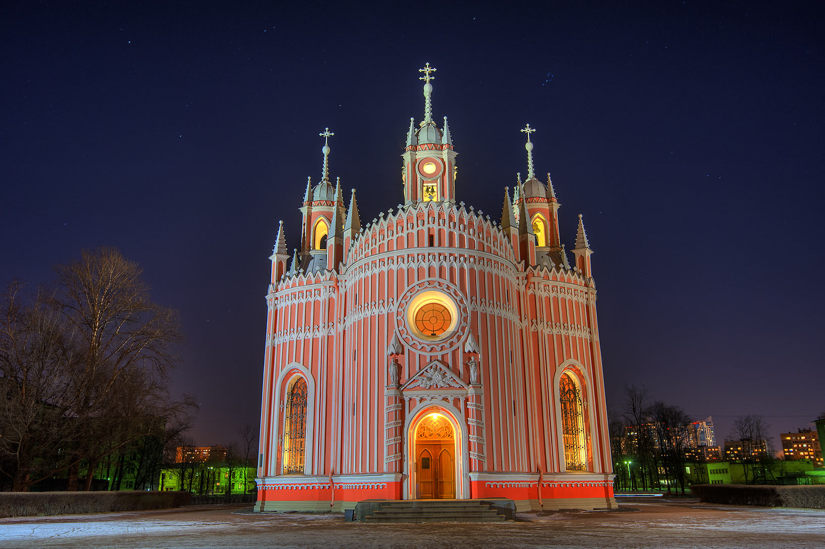 Building of Chesma (Chesmenskaya) Church at evening. St.Petersburg, Russia