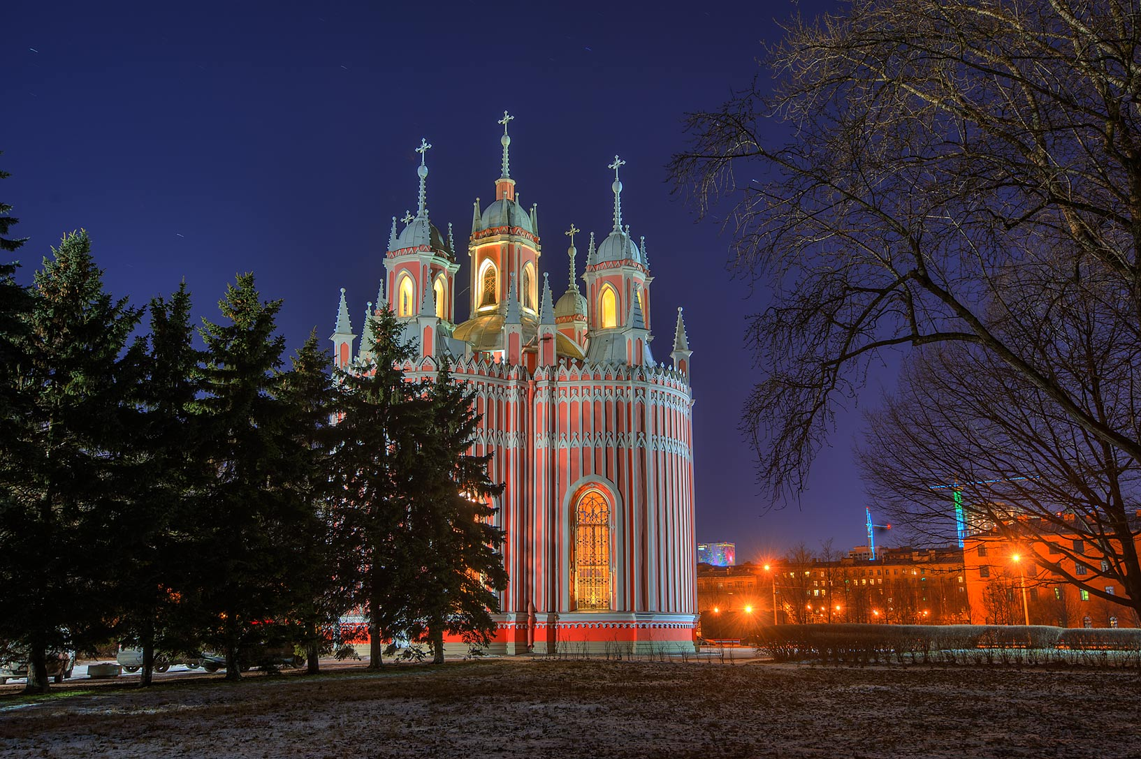 Back view of Chesma (Chesmenskaya) Church at evening. St.Petersburg, Russia