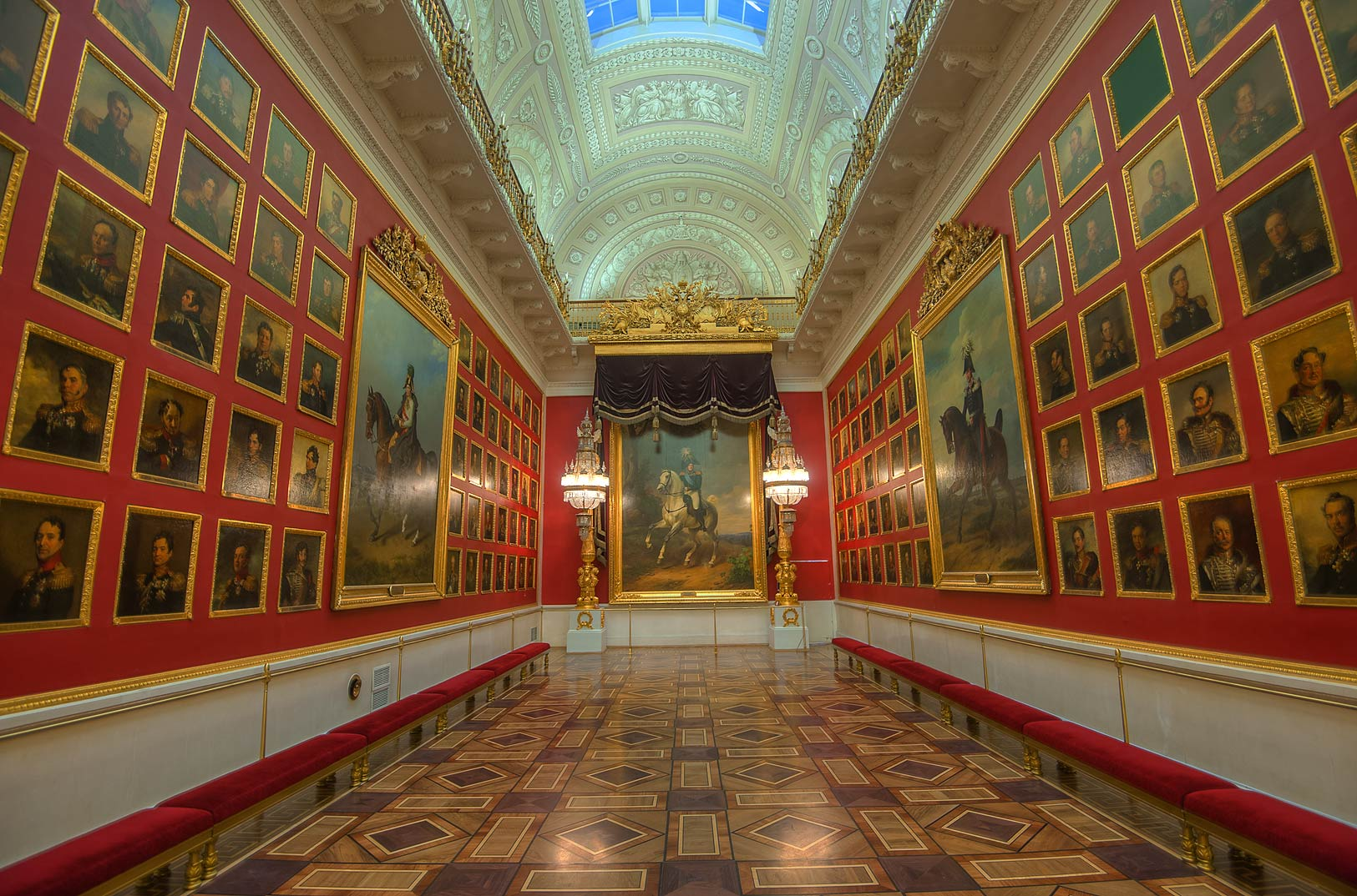 Gallery of the Patriotic War of 1812 in Hermitage Museum. St.Petersburg, Russia