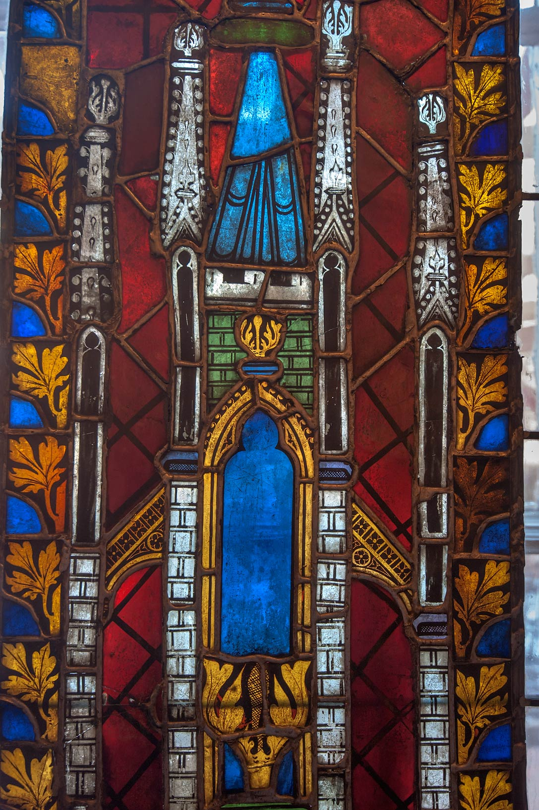 Gothic structure on stained-glass window in Hermitage Museum. St.Petersburg, Russia