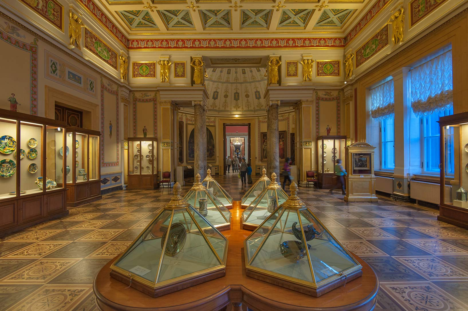 Exhibitions of Majolica Room in Hermitage Museum. St.Petersburg, Russia