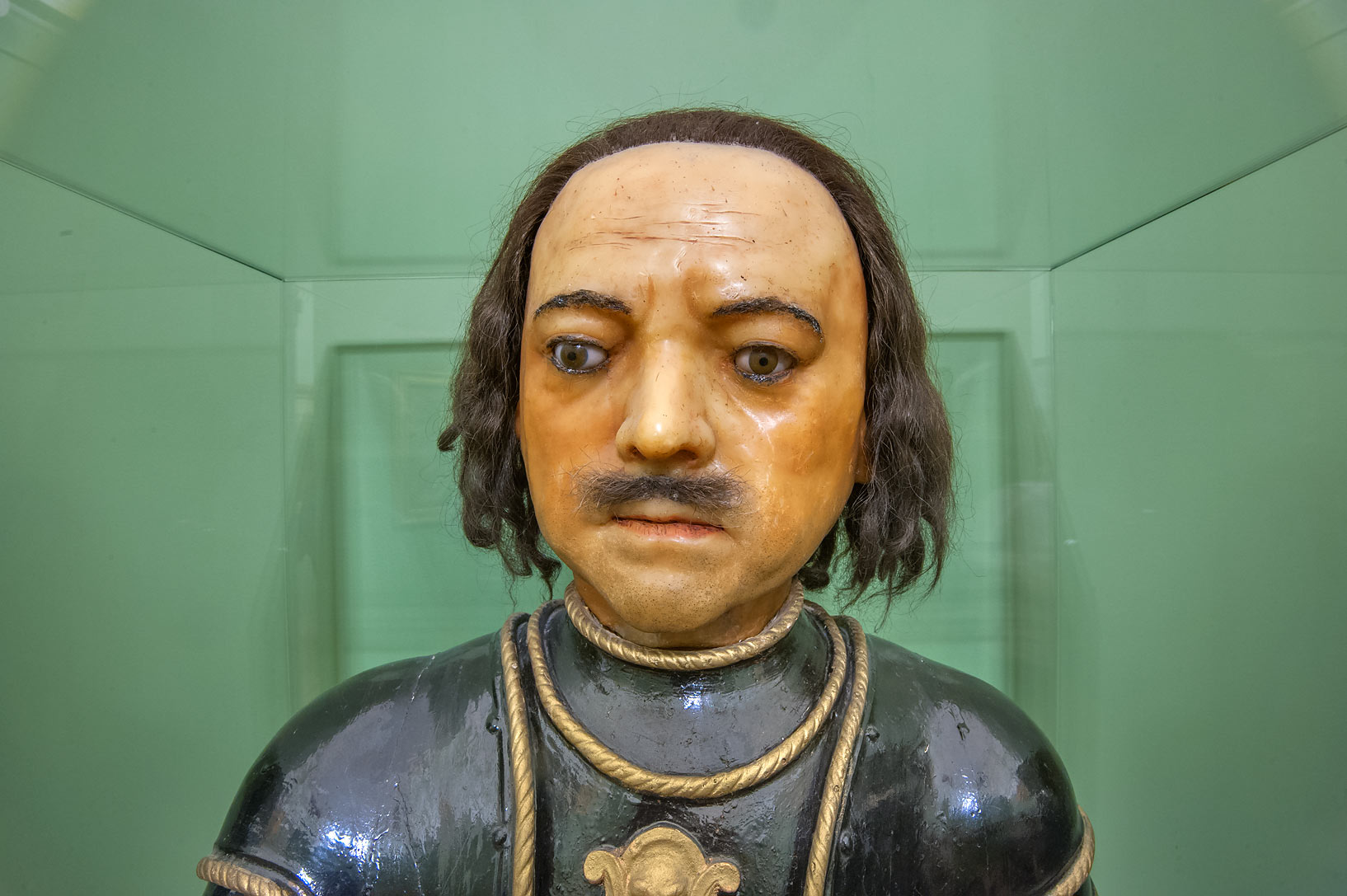 Wax head of Peter the Great in Mikhaylovsky Castle. St.Petersburg, Russia