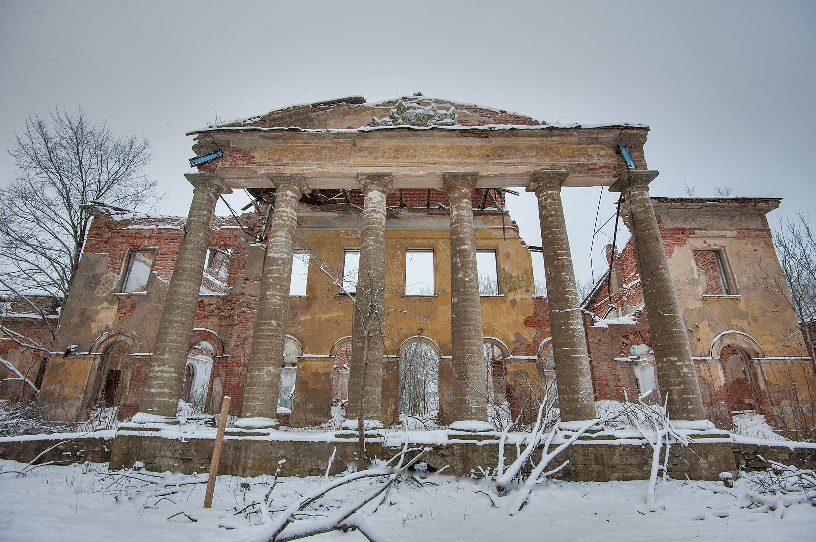 Front view of a stone mansion in Kotly Estate...Region of Leningrad District, Russia