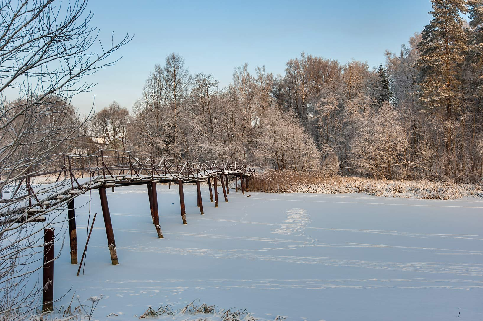 Foot bridge of Oredezh River near Rozhdestveno...District of Leningrad Region, Russia