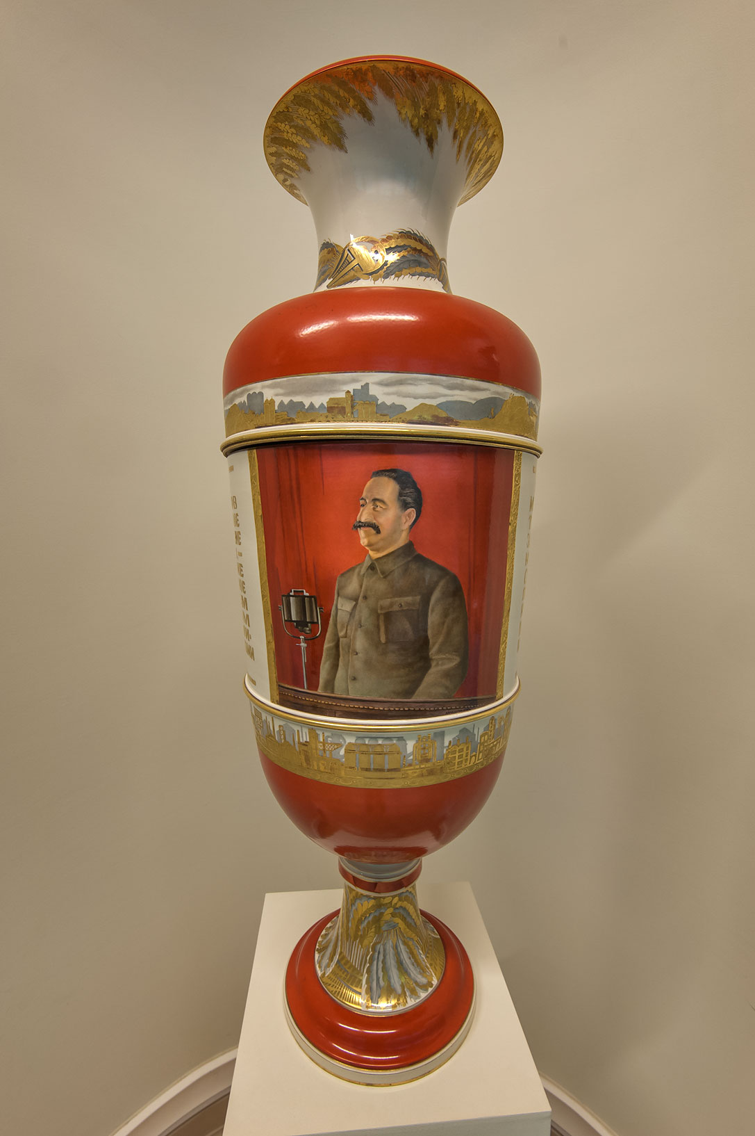 Vase with a portrait of Stalin's aid Sergo...Russian Museum. St.Petersburg, Russia