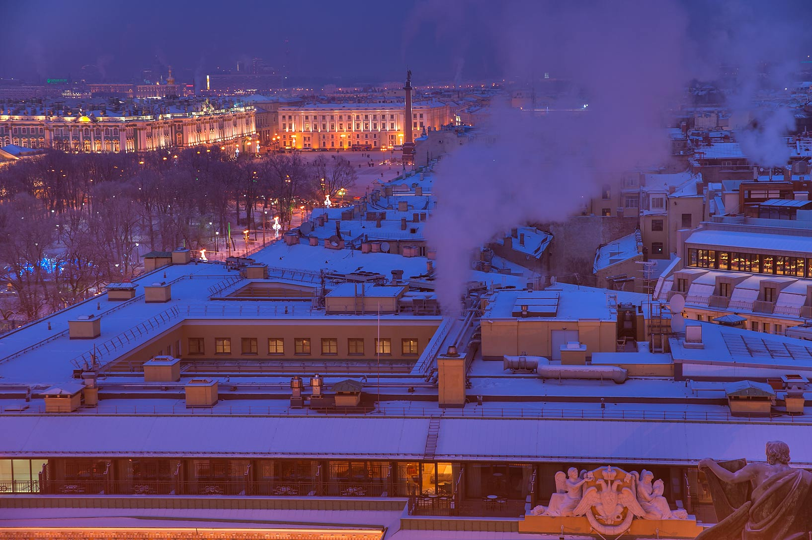 Dvortsovaya Square from colonnade of St.Isaac Cathedral. St.Petersburg, Russia