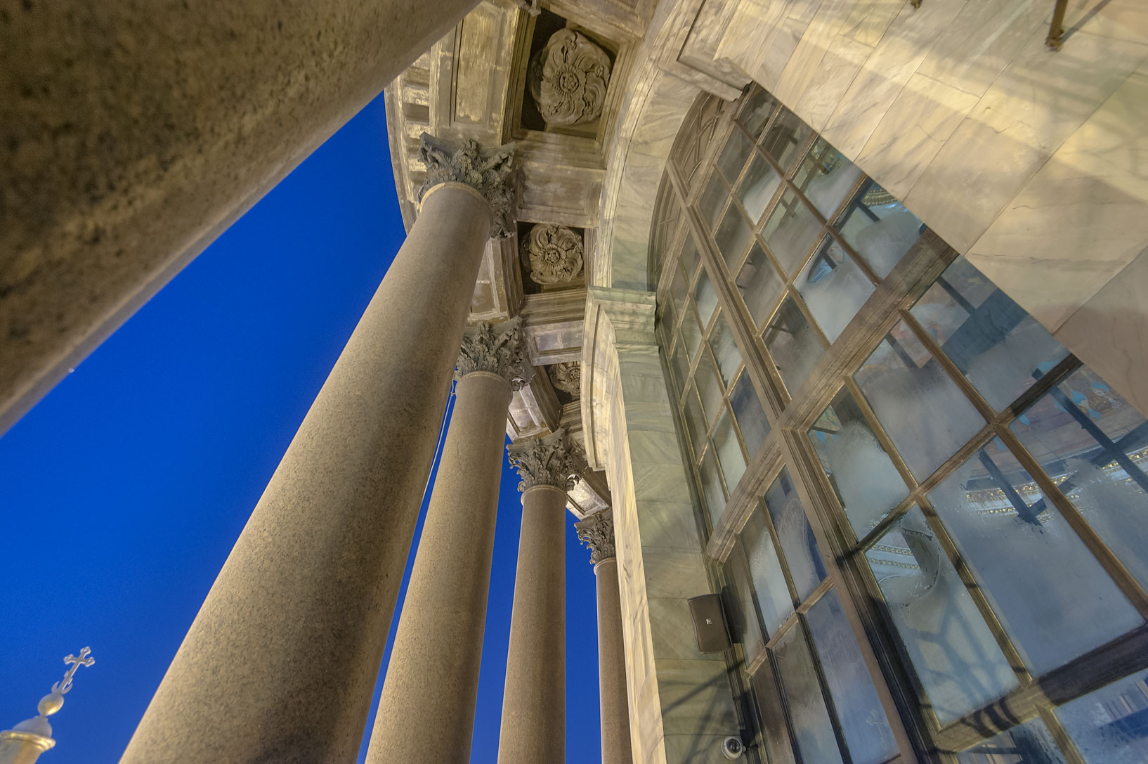 Granite columns of upper rotunda of St.Isaac Cathedral. St.Petersburg, Russia