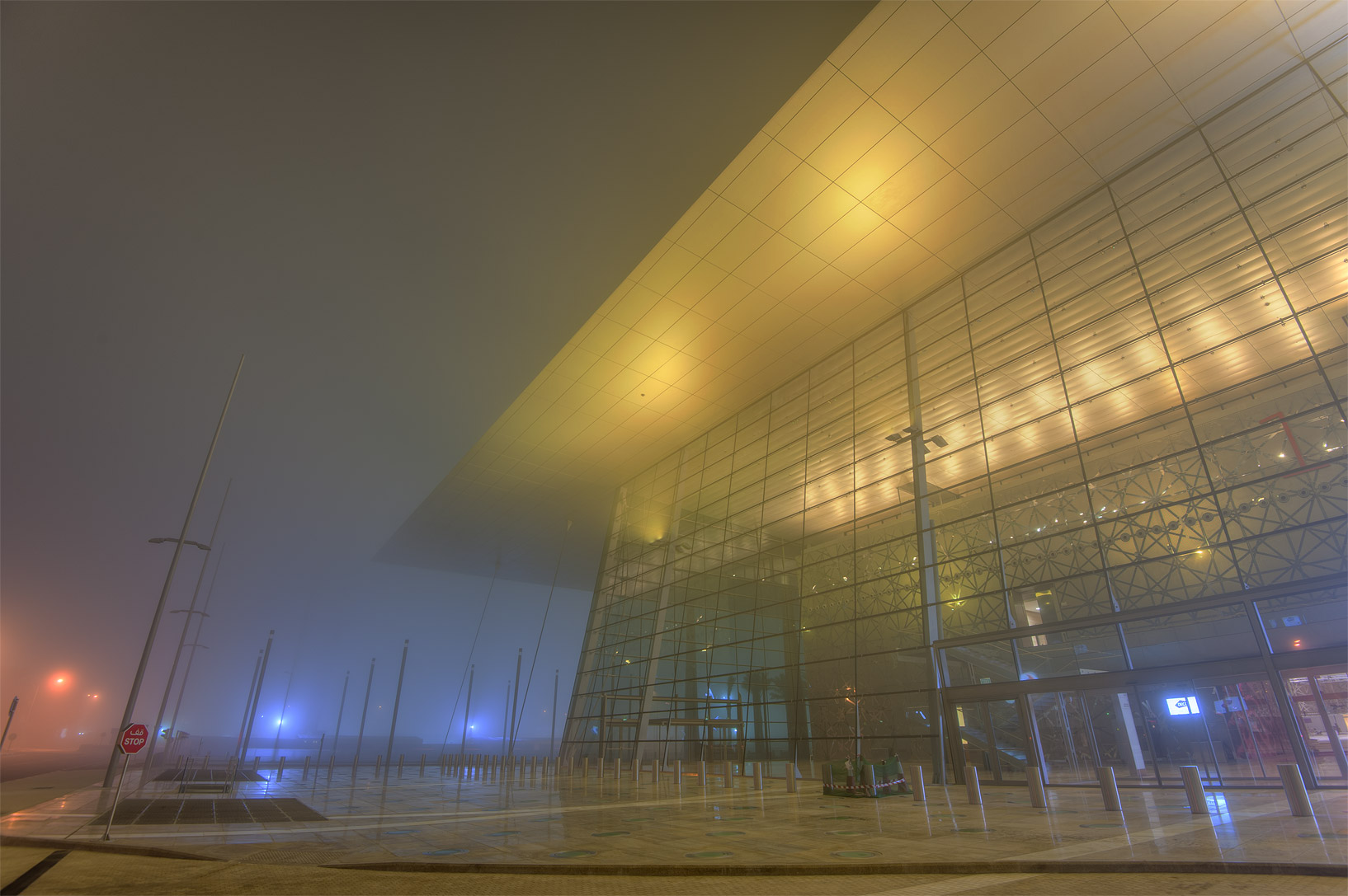 Exhibition and Convention Center (DECC) near City...St. in West Bay in fog. Doha, Qatar