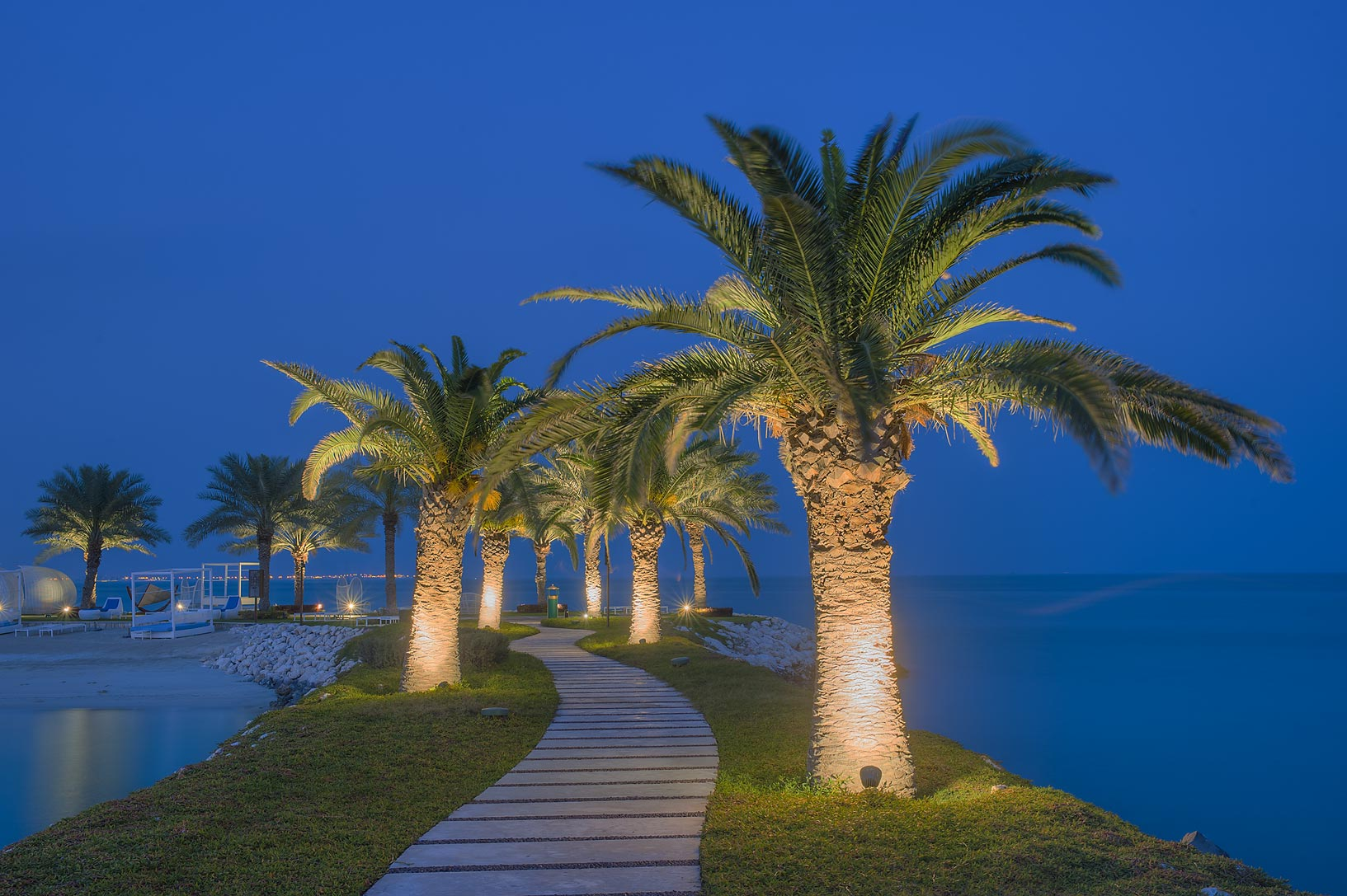Palm alley on a beach of Sheraton Hotel in West Bay. Doha, Qatar
