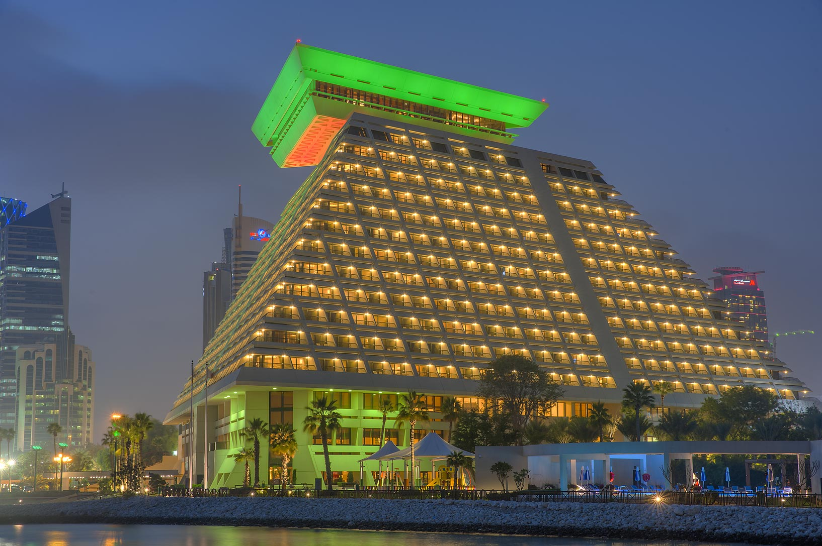 Sheraton Hotel in West Bay at evening. Doha, Qatar