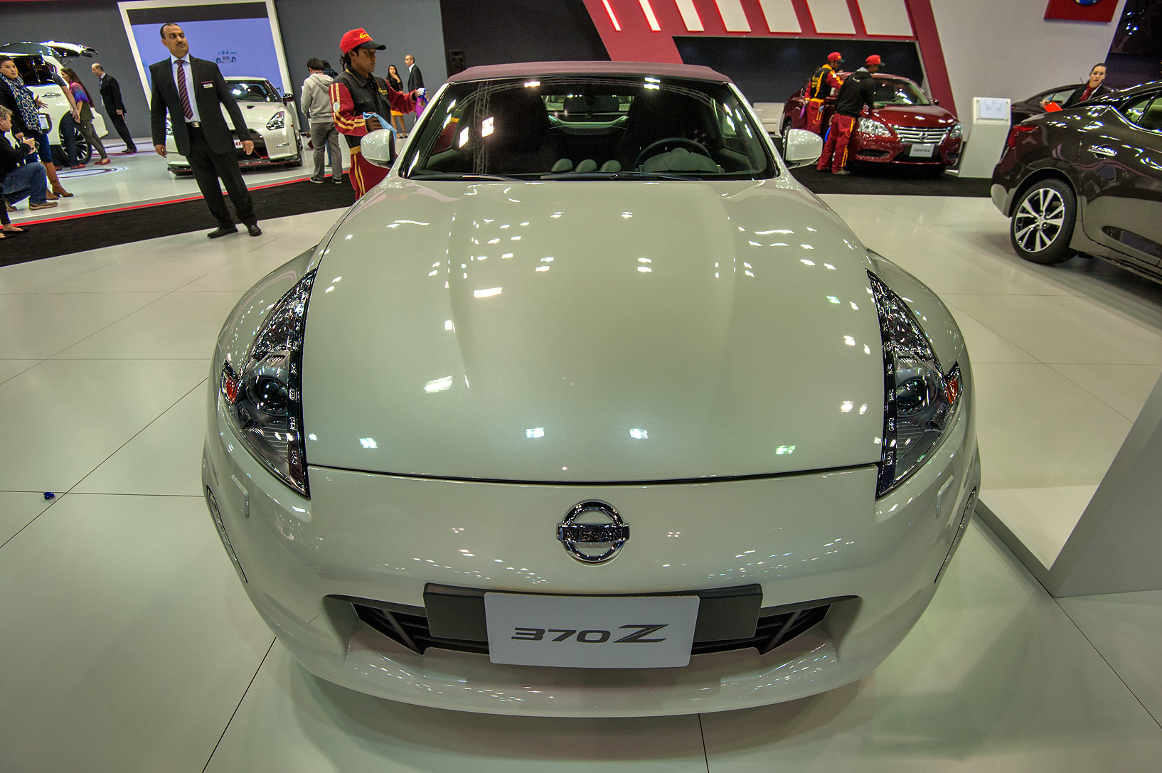 White 370Z car at a motor show in Exhibition and...near City Center mall. Doha, Qatar