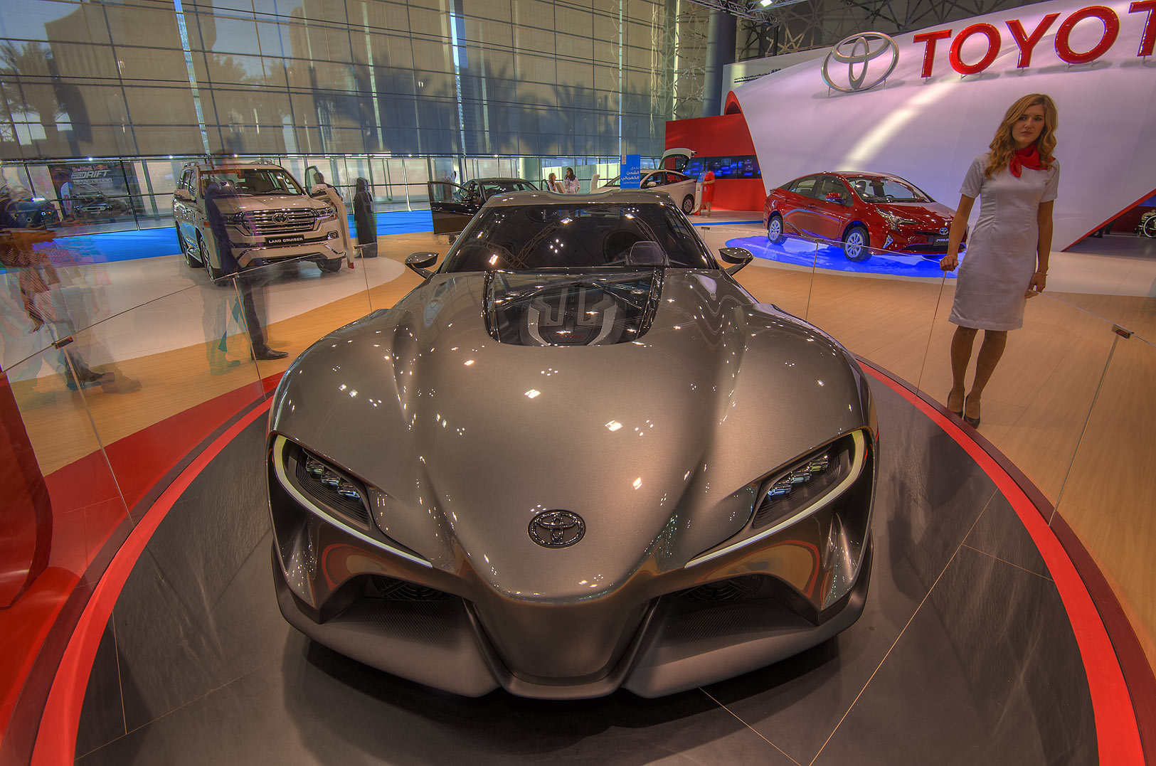 Silver Toyota car at a motor show in Exhibition...near City Center mall. Doha, Qatar