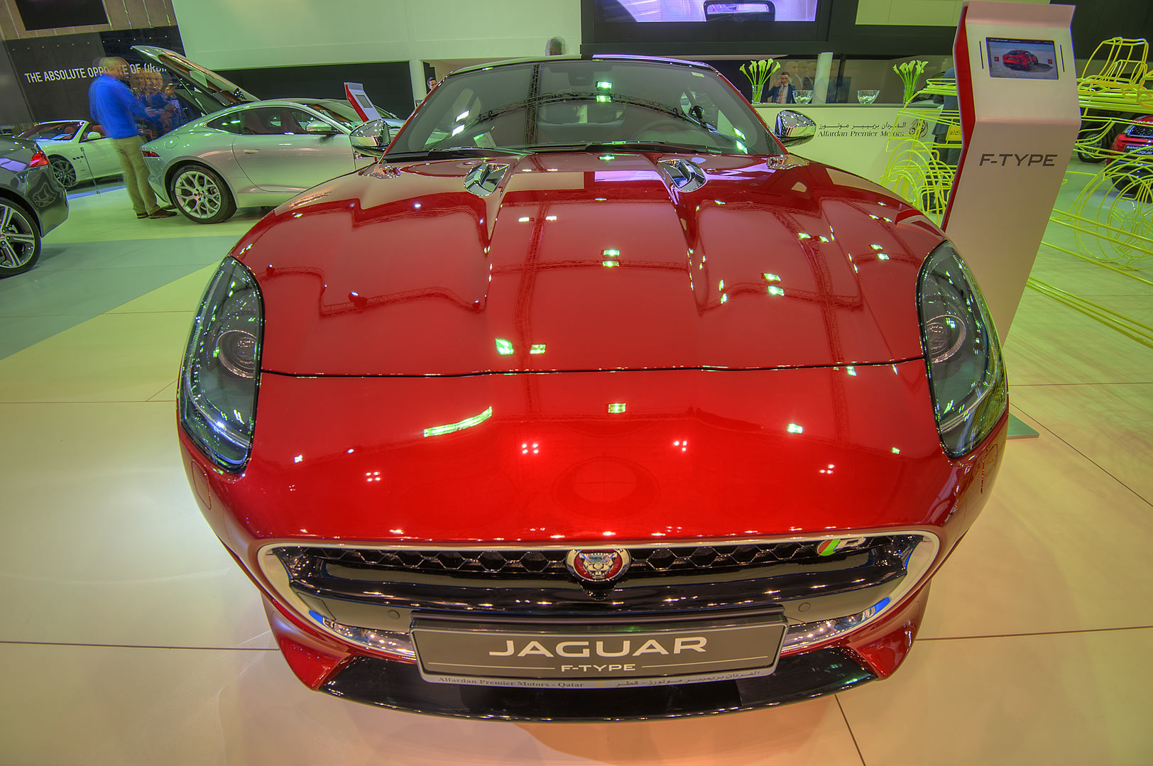 Red Jaguar F Type car at a motor show in...near City Center mall. Doha, Qatar