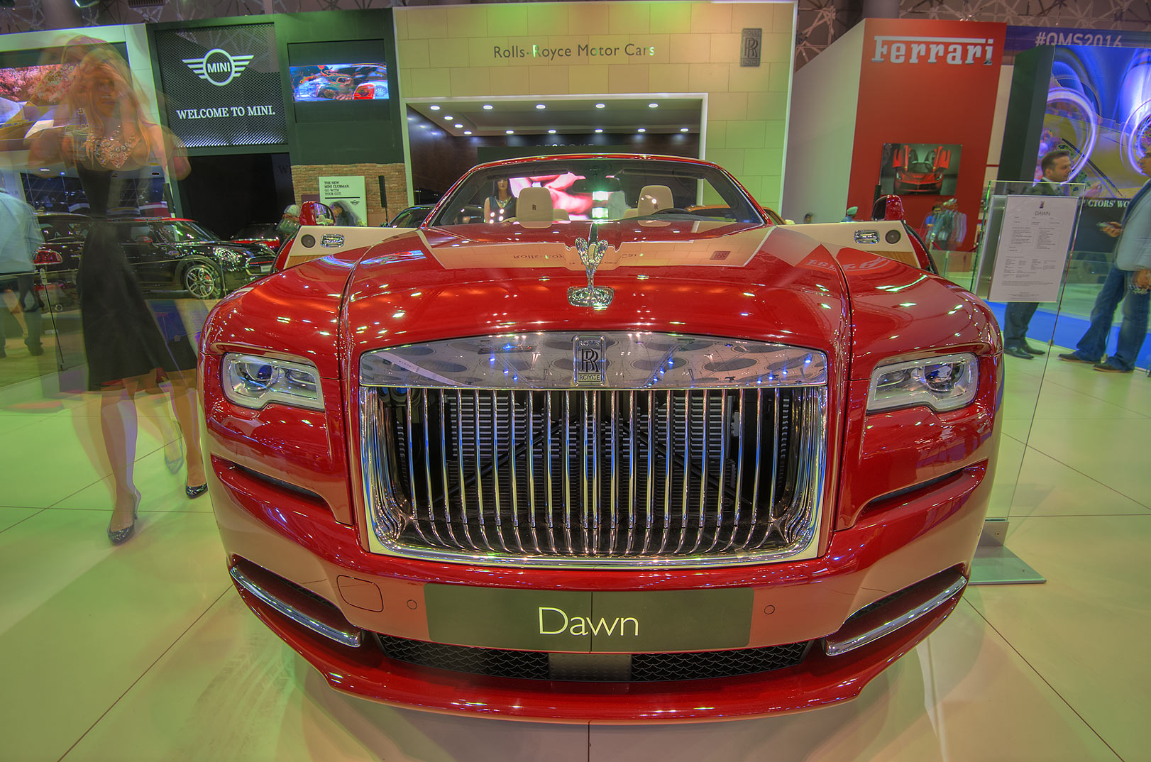 Red Down car at a motor show in Exhibition and...near City Center mall. Doha, Qatar