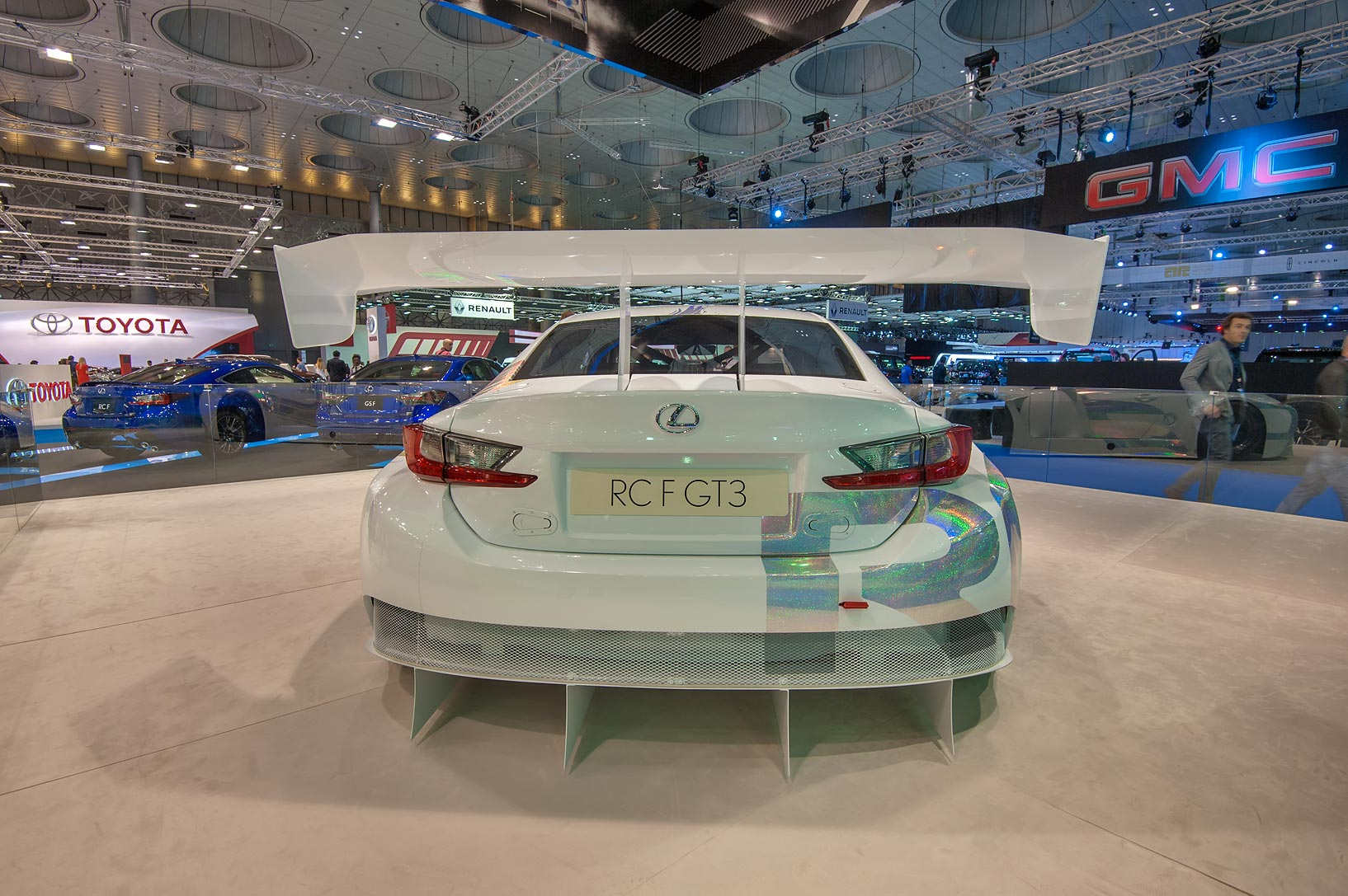 Back view of a white RCF GT3 car equipped with a...near City Center mall. Doha, Qatar