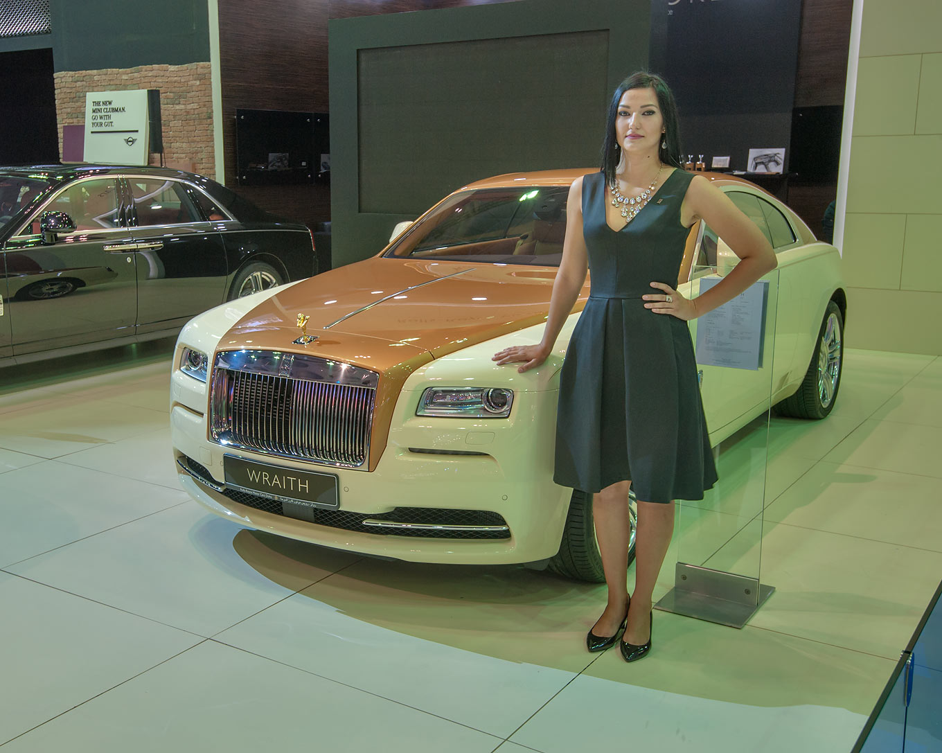 Brownish Rolls-Royce Wrath car at a motor show in...near City Center mall. Doha, Qatar