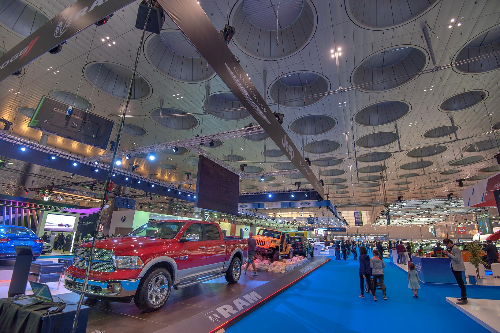 General view at a motor show in Exhibition and...near City Center mall. Doha, Qatar