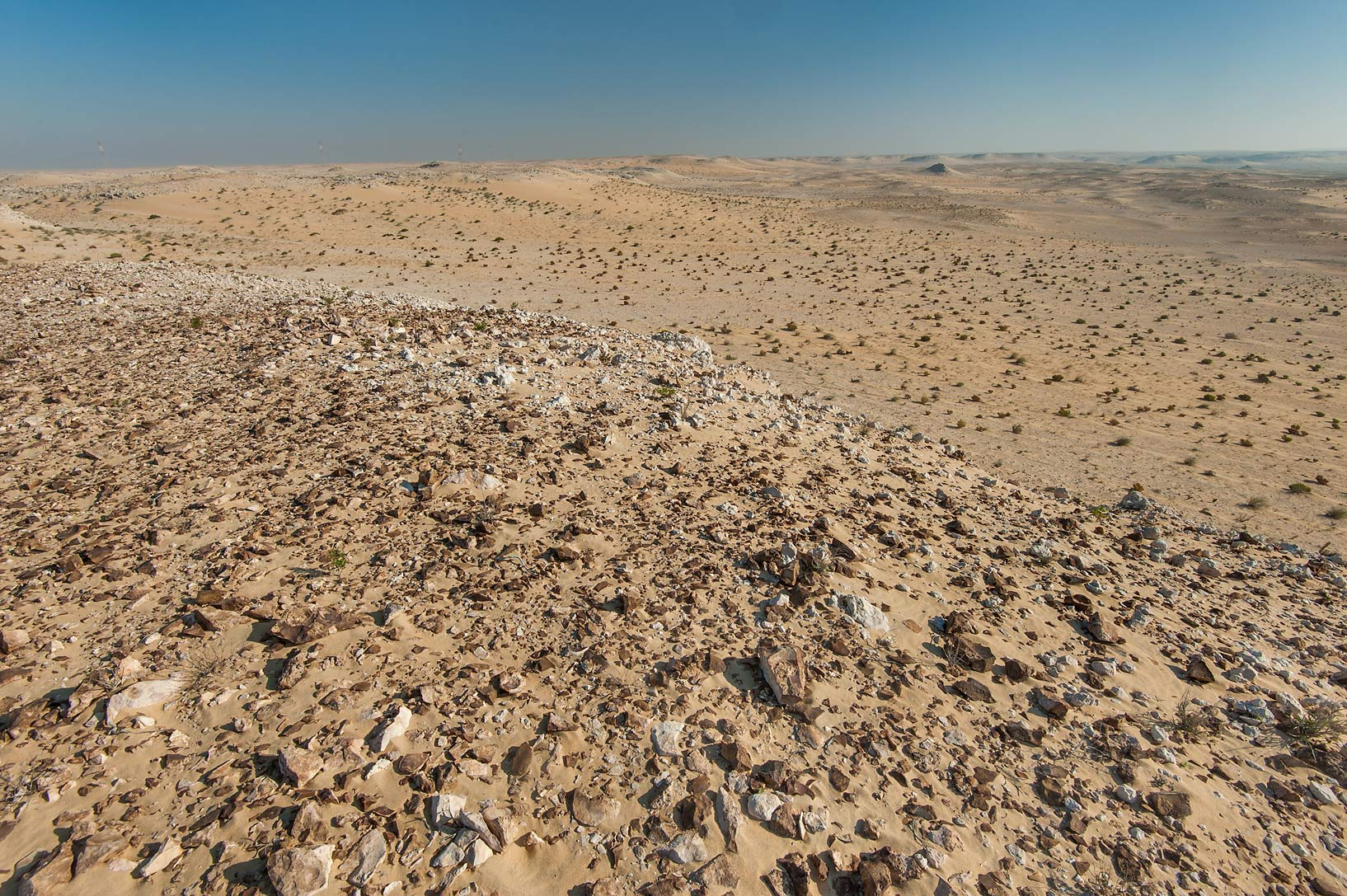 Black flint stones covering surface of a desert...road to Sawda Natheel. Southern Qatar