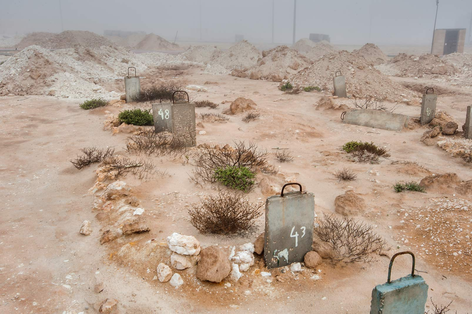 Tombs No 43 and 48 of Al Khor Cemetery in mist. North from Al Khor, Qatar