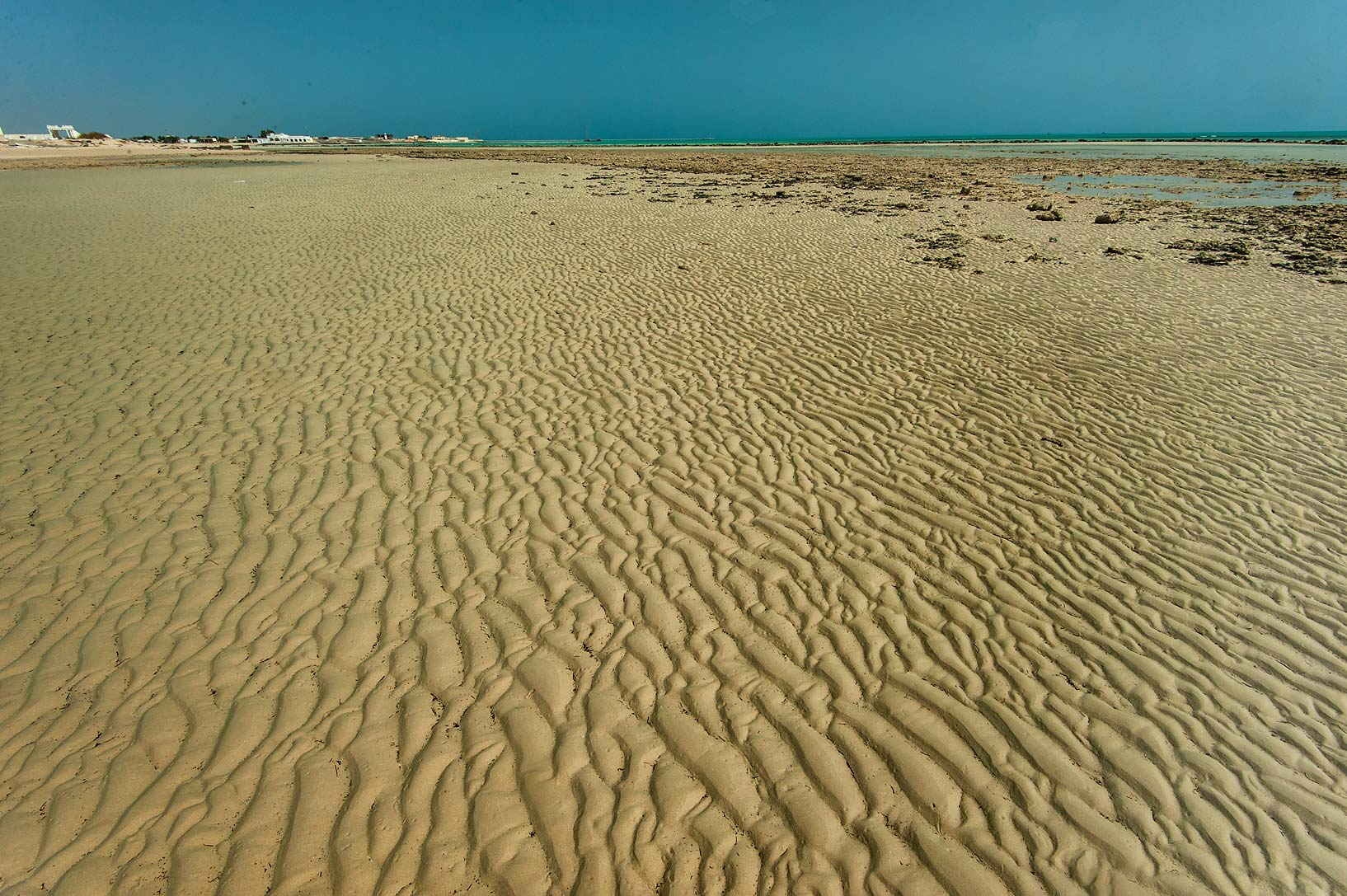 Sand ripples on French Beach (42 km Beach) in Marouna, on north-eastern coast. Qatar