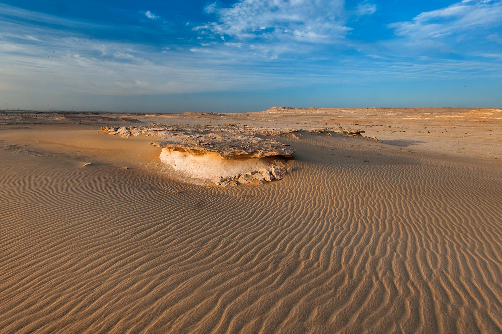 Windblown sand with ripples in area of Jebel Al...Khashm an Nakhsh). South-western Qatar