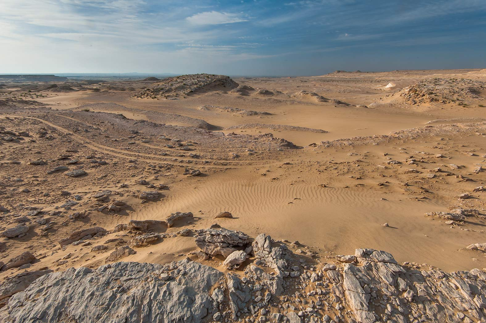 View from a gypsum plateau in area of Jebel Al...Khashm an Nakhsh). South-western Qatar