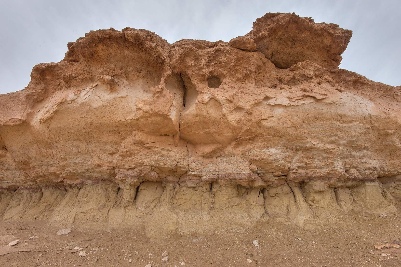 Top section of a limestone cliff in Maszhabiya...Reserve near Abu Samra. Southern Qatar