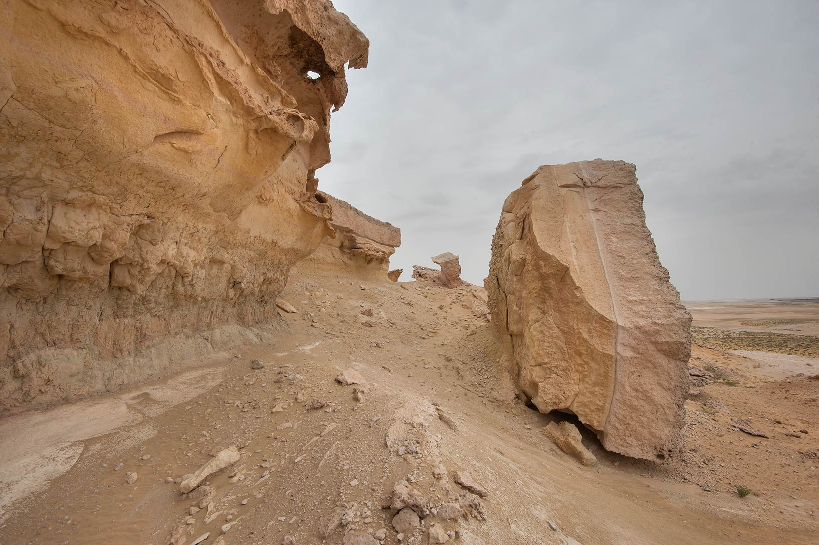 Large detached part of limestone cliffs in...Reserve near Abu Samra. Southern Qatar