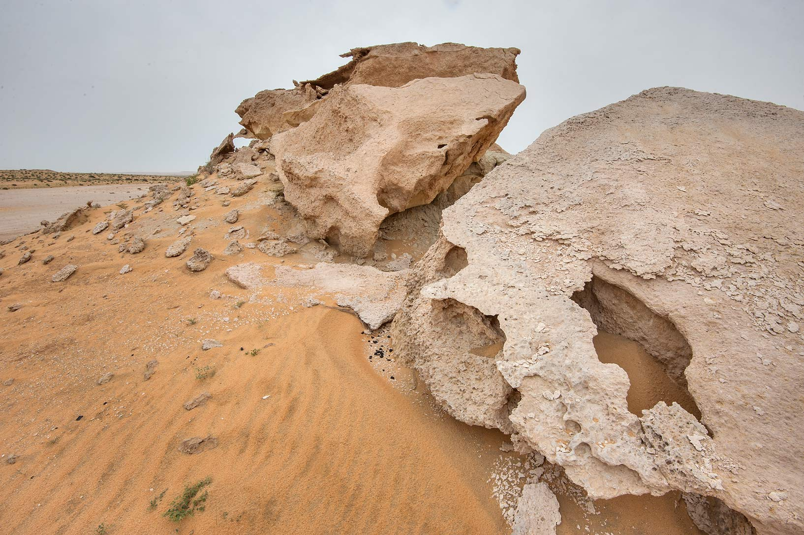 Odd shapes of limestone cliffs in Maszhabiya (Al...Reserve near Abu Samra. Southern Qatar