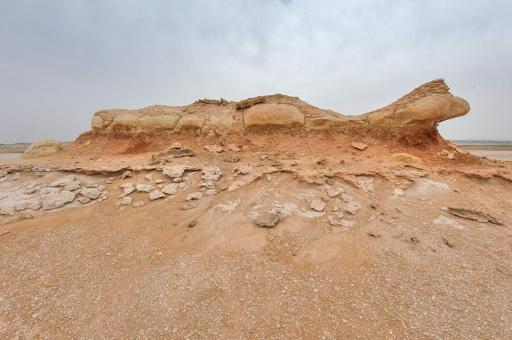 Orange limestone formation on a plateau of a...Reserve near Abu Samra. Southern Qatar