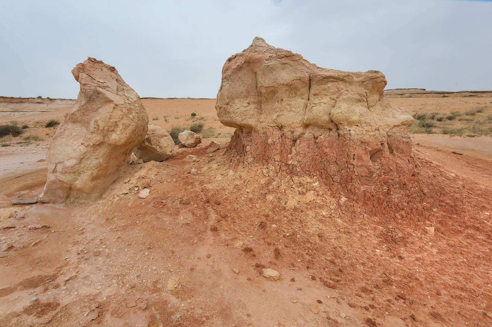 Erosion of an orange limestone formation in...Reserve near Abu Samra. Southern Qatar