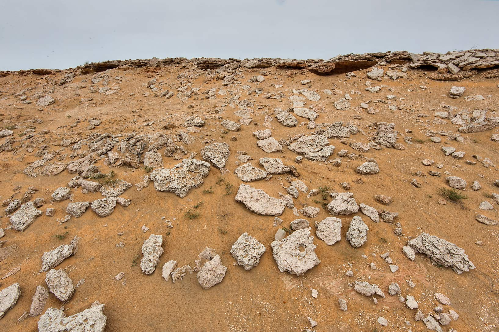 Erosion of an edge of a tabletop hill in...Reserve near Abu Samra. Southern Qatar