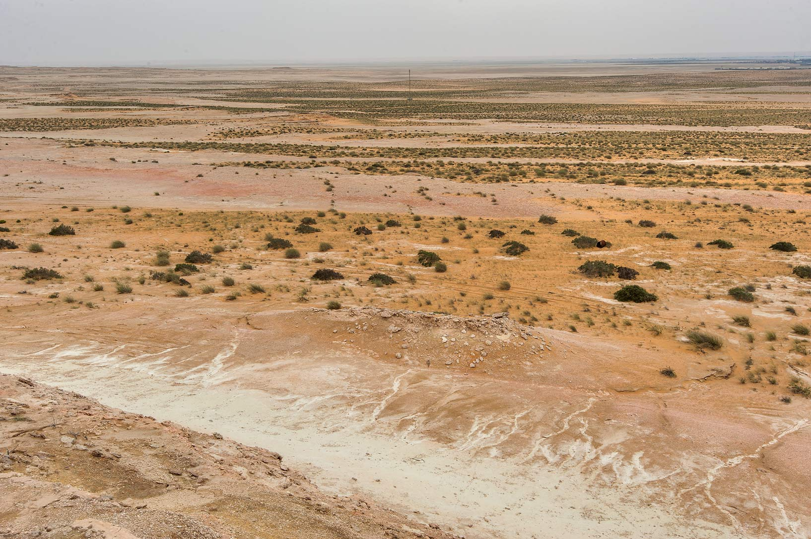 View of desert from a hill in Maszhabiya (Al...Reserve near Abu Samra. Southern Qatar