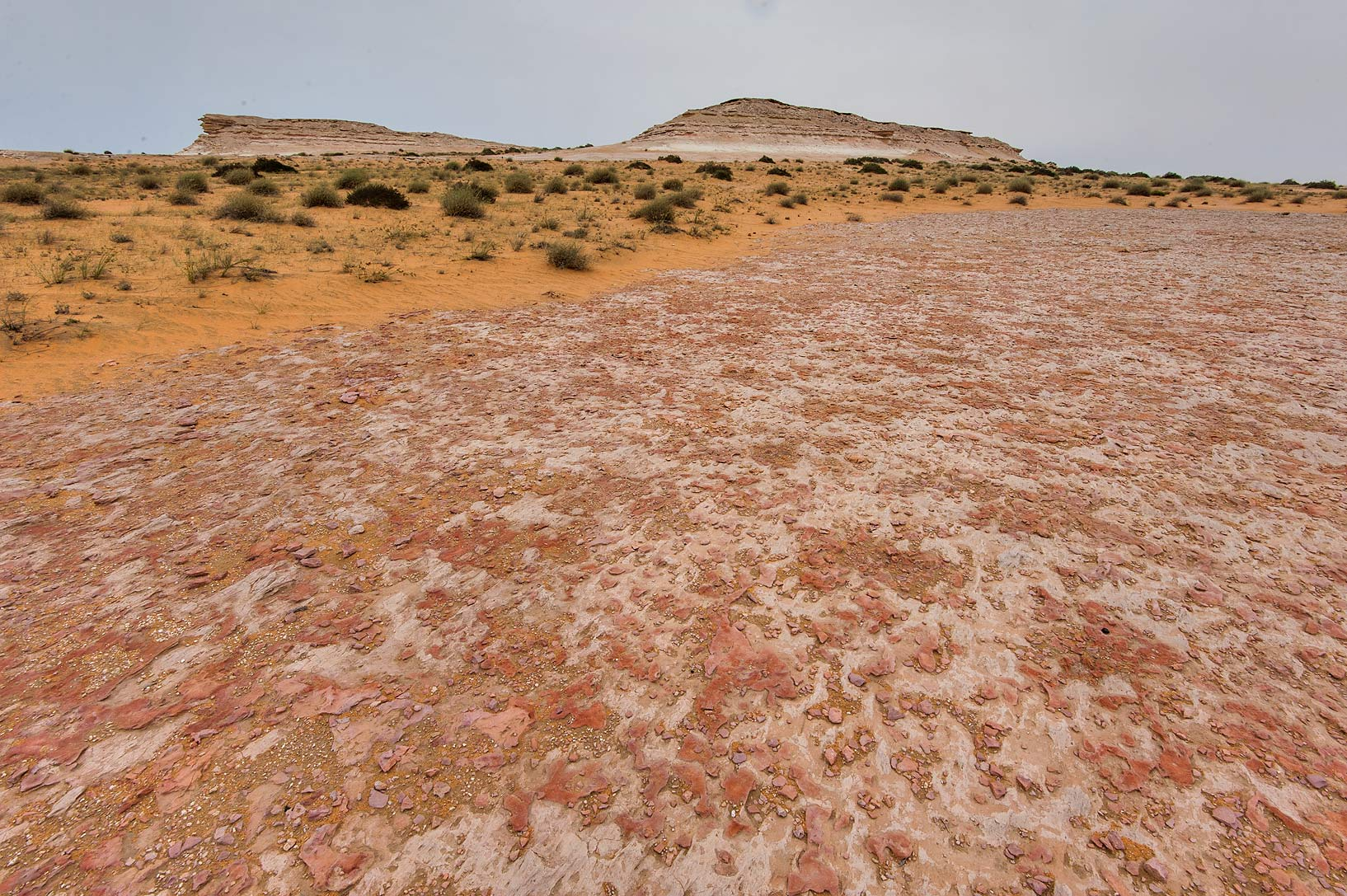 Washed dolomite plateau at the foot of a hill in...Reserve near Abu Samra. Southern Qatar