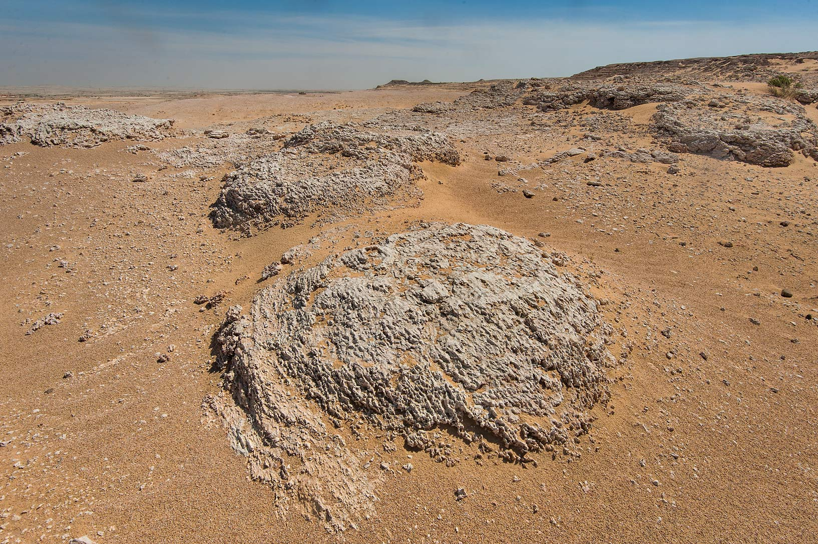 Domes of fossilized stromatolites (microbial mats...Jebel Al-Nakhsh in south-western Qatar
