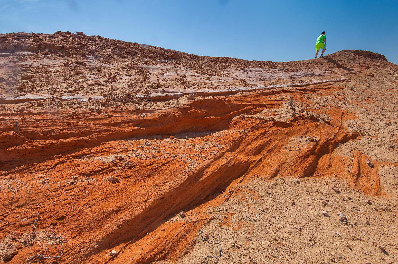 Climbing an orange lithified (hardened) sand dune...Jebel Al-Nakhsh in south-western Qatar