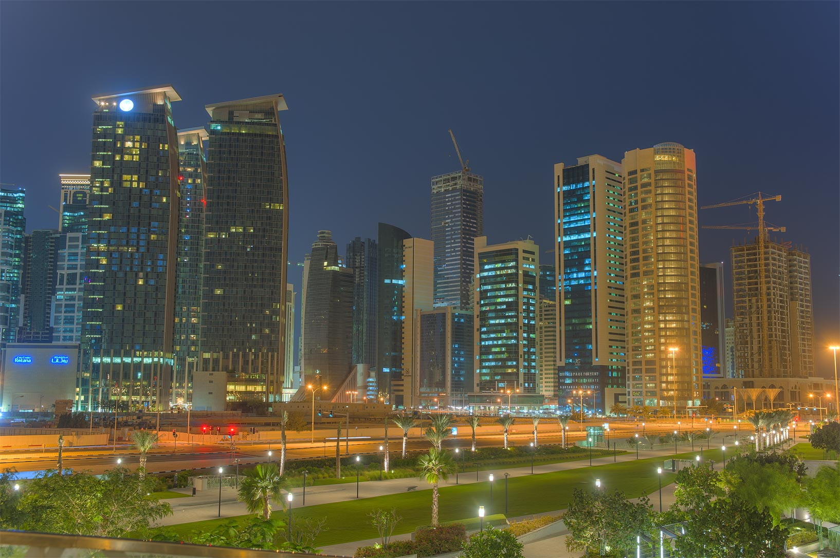 West Bay from a grassy hill below Sheraton Hotel. Doha, Qatar