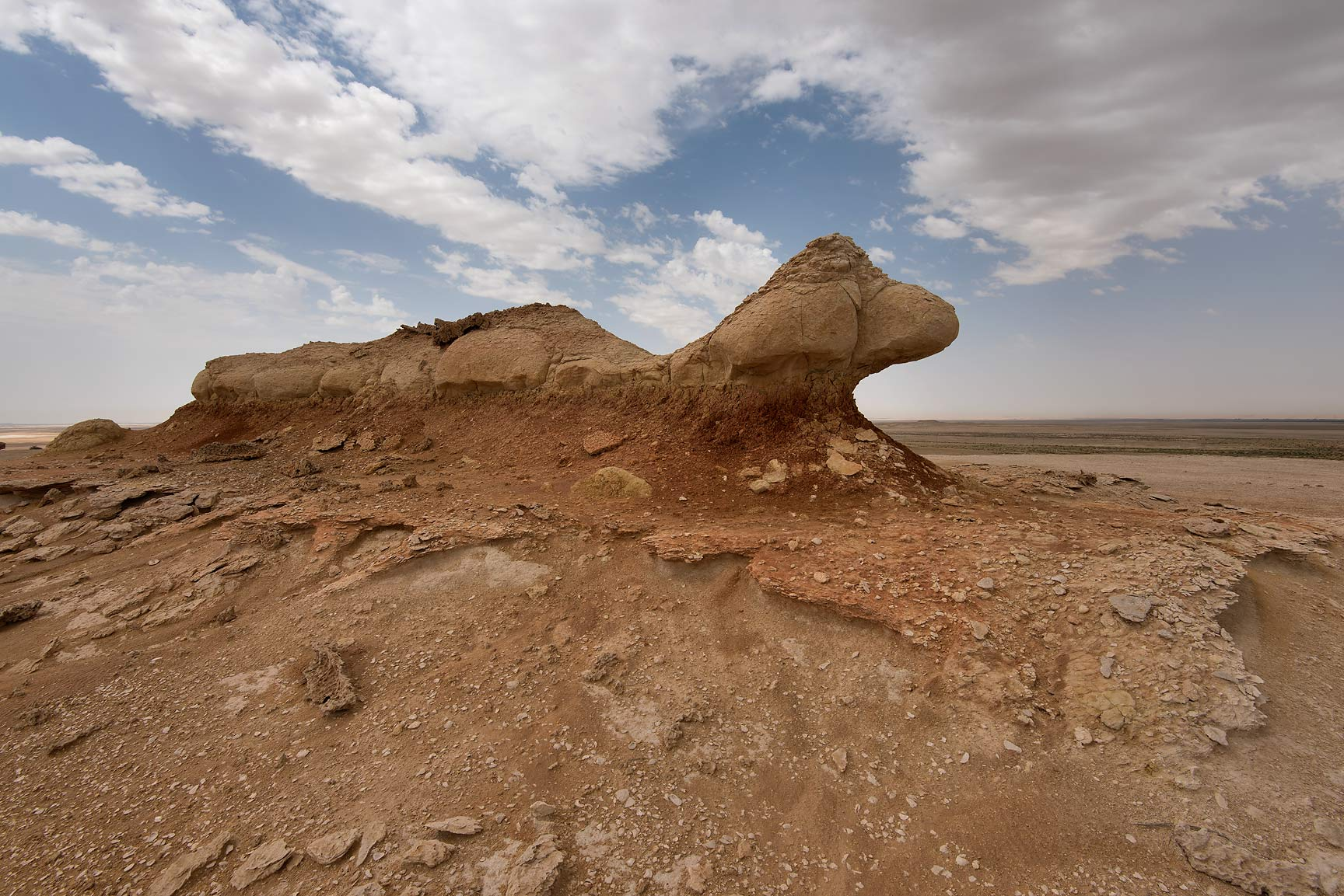 Erosion of a rock formation on a tabletop hill in...Reserve near Abu Samra. Southern Qatar
