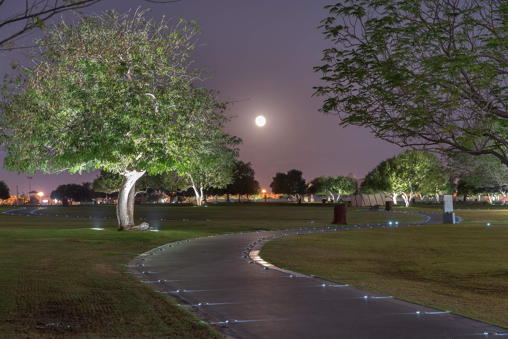 Moonlit pathway in Aspire Park. Doha, Qatar