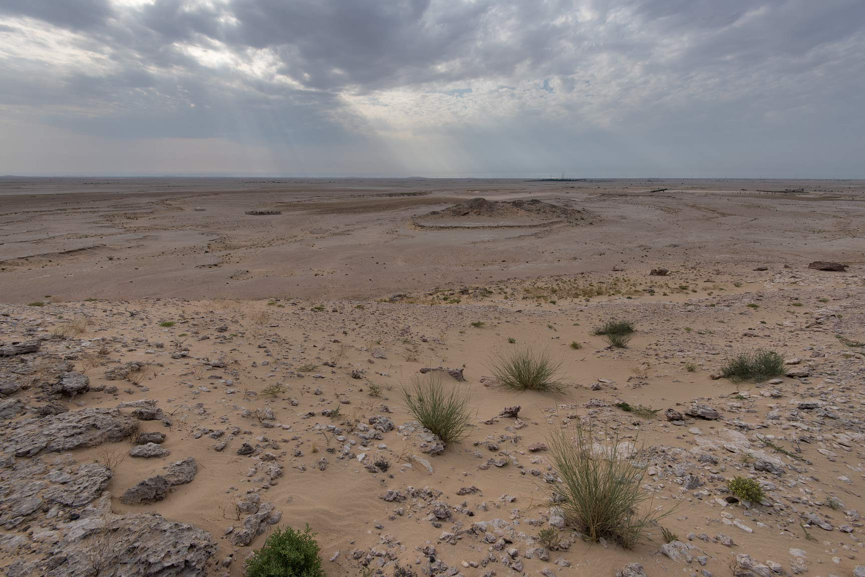 View from limestone cliffs in Harrarah (Al Kharrarah). Southern Qatar