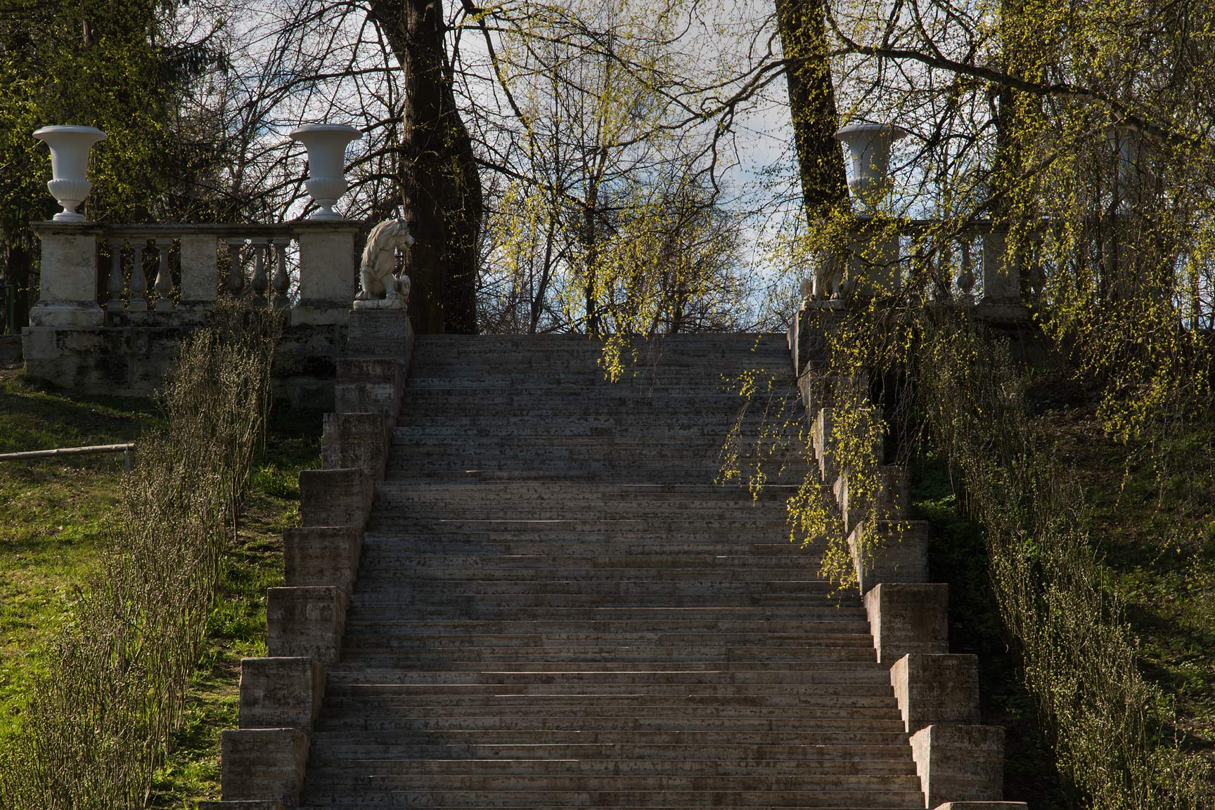 Grand Italian Stairs in Pavlovsk Park. Pavlovsk, suburb of St.Petersburg, Russia