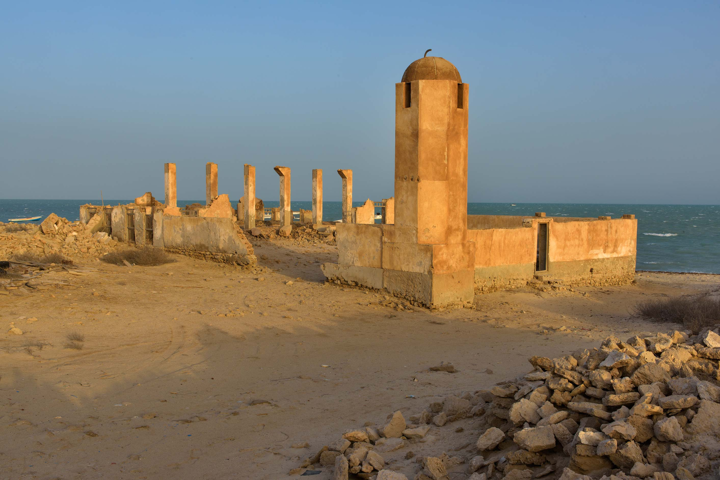 Minaret of a mosque at sunrise in old fishing...from Lekhwair on northern coast. Qatar